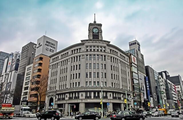 銀座にある和光ビルの時計台